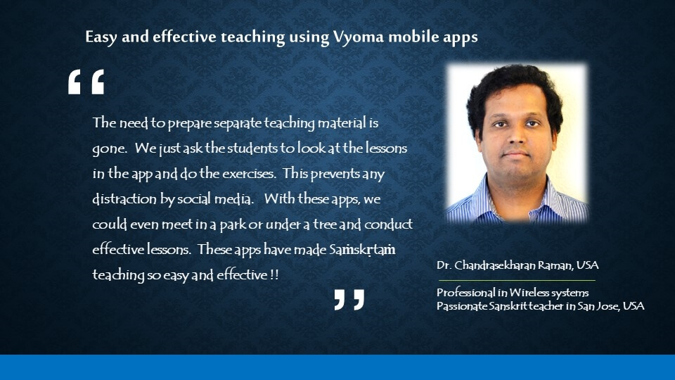 Testimonials of Vyoma e-learning inc